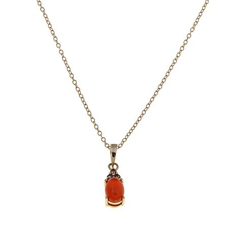 Technibond® Carnelian and Smoky Quartz Pendant