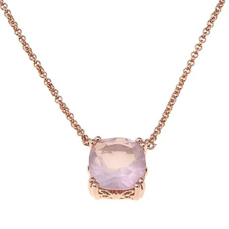 "Technibond® Cushion-Cut Rose Quartz 18"" Necklace"