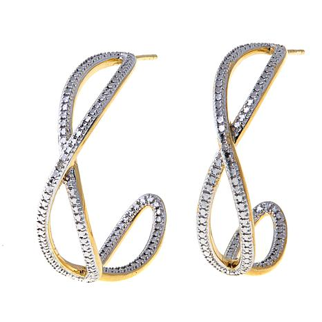 Technibond® Diamond-Accented Crossover Hoop Earrings