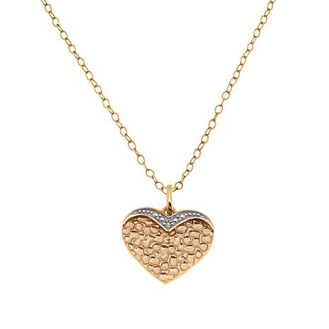 Technibond® Diamond-Accented Heart Pendant with Chain
