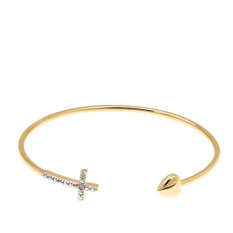 Technibond® Diamond-Accented Heart/Cross Cuff Bracelet