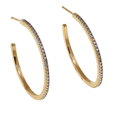 Technibond® Diamond-Accented Hoop Earrings
