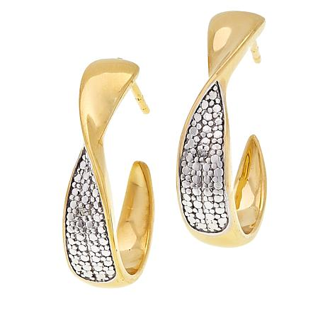 Technibond® Diamond-Accented Ribbon J-Hoop Earrings