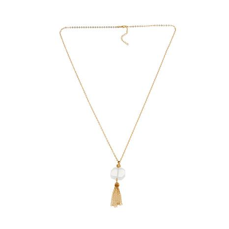 "Technibond®  White Quartz Tassel Drop 30"" Necklace"
