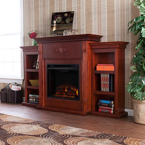 products tennyson electric fireplace with bookcases mahogany
