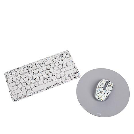 Terrazzo Printed Wireless Keyboard & Mouse with Mouse Pad