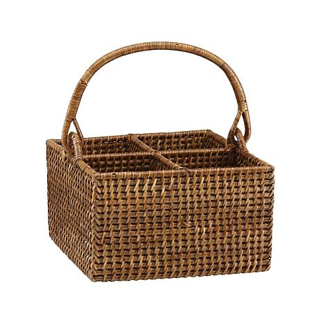 The French Chefs 4-Bottle Rattan Caddy