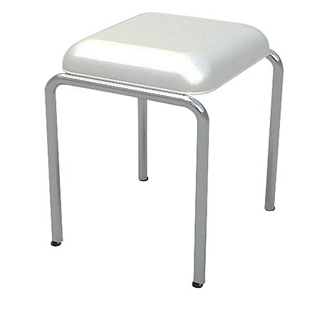 tiffany chrome vanity stool with white seat
