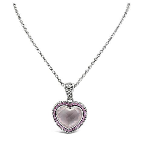 Tiffany Kay Studio Rose Quartz and Rhodolite Heart Pendant with Chain