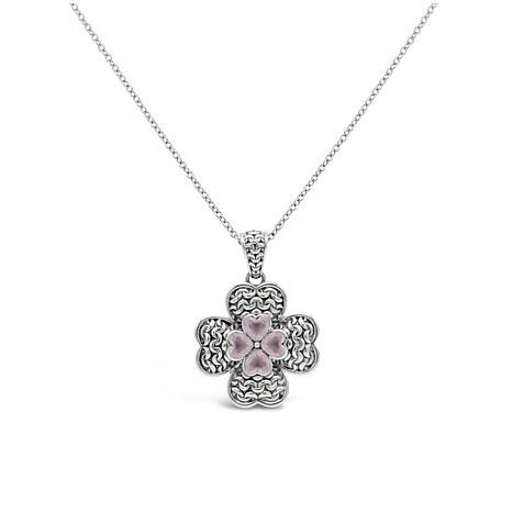 Tiffany Kay Studio Sterling Silver Rose Quartz Clover Pendant Necklace