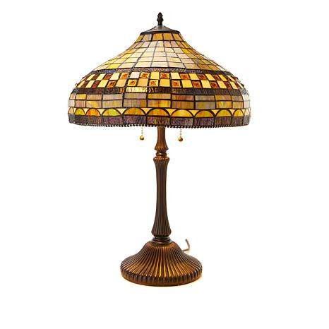 Tiffany-Style Golden Stone Art Glass Table Lamp