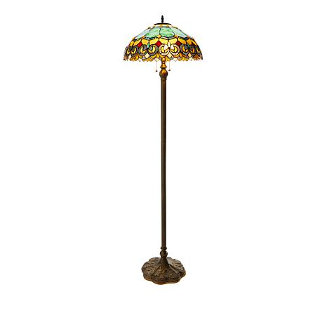 Tiffany-Style Green Jade Baroque Floor Lamp