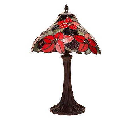 """Tiffany-Style Stained Glass Poinsettia 19"""" Table Lamp"""