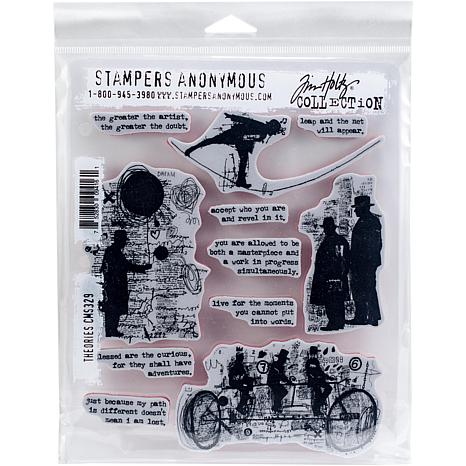 "Tim Holtz Cling Stamps 7"" x 8.5"" - Theories"
