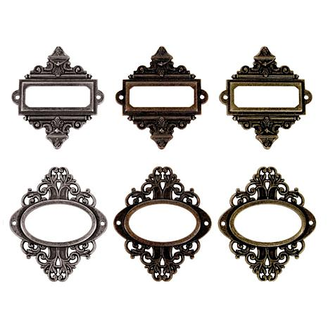 Tim Holtz Idea-ology Book Plates with Long Fasteners  sc 1 st  HSN.com & Idea-Ology Metal Ornate Plates W/Fasteners 2.25X2.5 6/Pkg - Antique ...