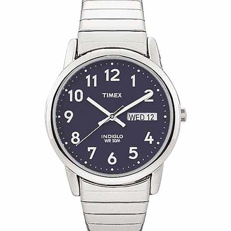 Timex Men's Stainless Steel Blue Dial EZ-Reader Analog Expansion Watch