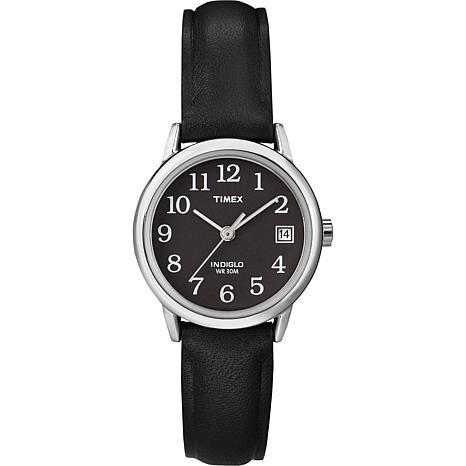 Timex Women's Black Dial EZ-Reader Black Strap Watch