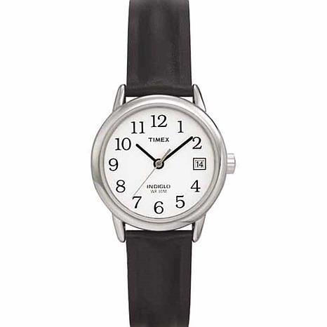 Timex Women's Silvertone EZ-Reader Black Strap Watch