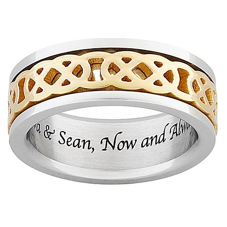 Titanium 2-Tone Engraved Celtic Knot Spinner Band Ring