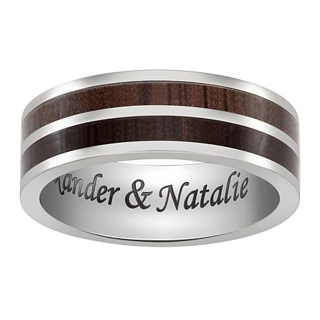 Titanium and Wood 2-Row Engraved Message Band Ring