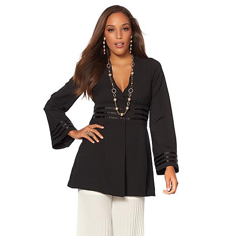Touch of Cyn by Cyndi Lauper Crepe Button Front Tunic Top