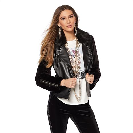 Touch of Cyn by Cyndi Lauper Moto Jacket with Faux Fur