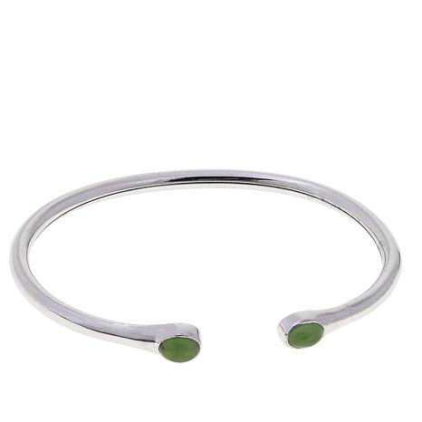 Traveler's Journey Nephrite Jade Flexible Cuff Bracelet