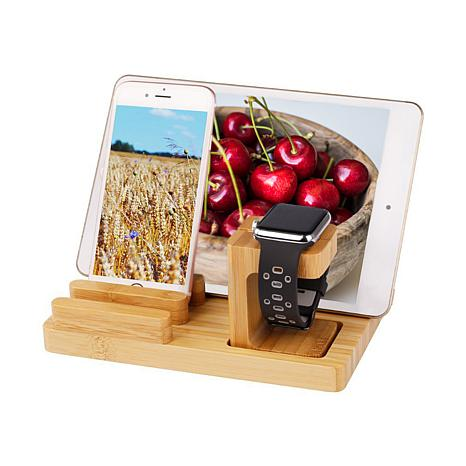 Trexonic Bamboo Apple Watch and Iphone Charging Stand