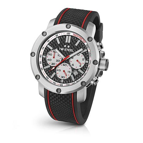 TW Steel Men's Grandeur Tech TS2 Silicone Strap Chronograph Watch