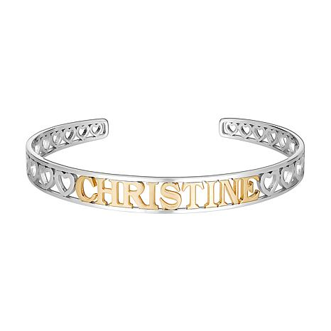Two-Tone Sterling Silver Name Cuff Bracelet