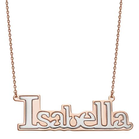 Two Tone Sterling Silver Name Necklace