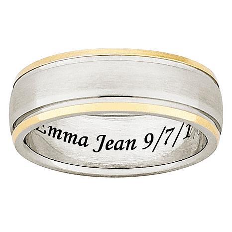 Two-Tone Titanium Engravable Band Ring