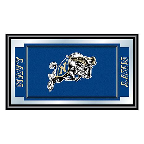 United States Naval Academy Logo and Mascot Framed Mirror