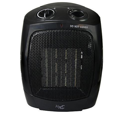 Vie Air 1500W Portable 2-Settings Office Black Ceramic Heater with ...