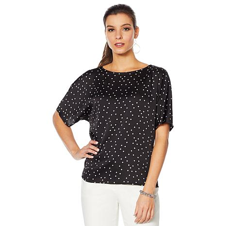 Vince Camuto Hammered Satin Pleated Back Blouse