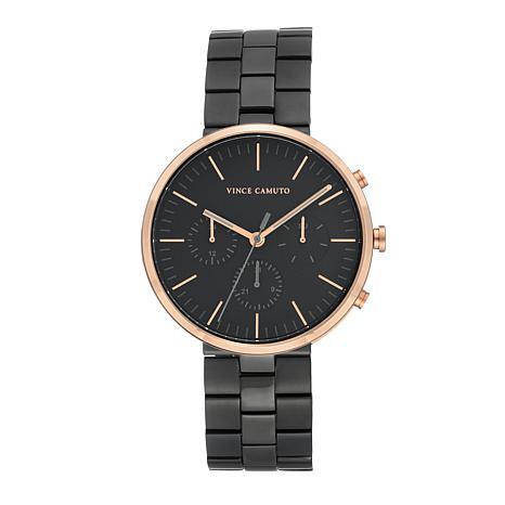 Vince Camuto Men's Multi-Function Dial Black/Rosetone Bracelet Watch