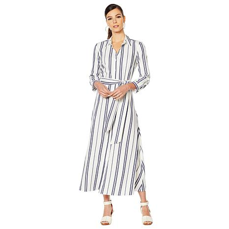 e464b1d9101 Vince Camuto Valiant Stripe Tie-Front Shirt Dress - 8904595