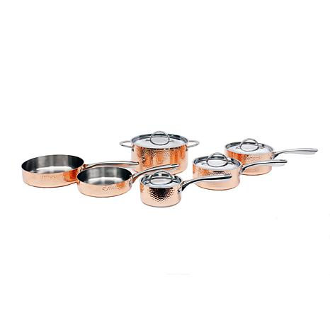 Vintage Collection 10-piece Hammered Copper Cookware Set