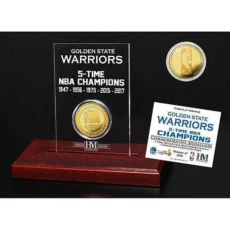 Warriors 5X NBA Champions Gold Coin Etched Acrylic