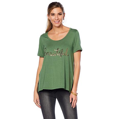 Wendy Williams Sequin Embellished Graphic Tee