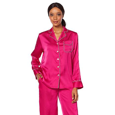 Wendy Williams Silky Pajama Top with Piping