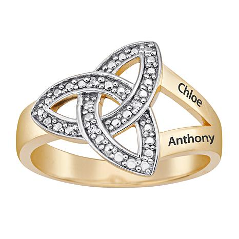 White Diamond Trinity Knot Engraved Couple's Name Ring