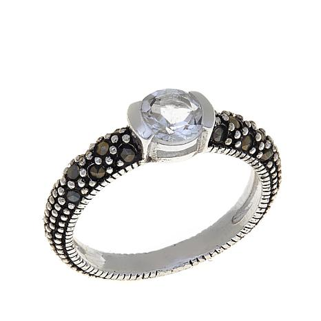 White Topaz and Marcasite Sterling Silver Ring - April