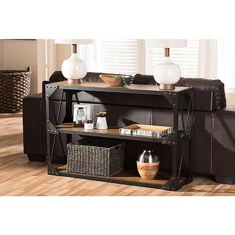 Wholesale Interiors Hudson Console Table - Black Metal/Distressed Wood