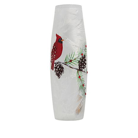 Wind & Weather Cracked Glass Christmas Cardinal Vase with Lights
