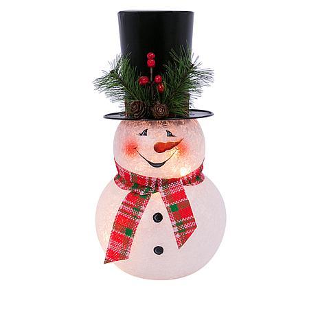 "Winter Lane 12"" Illuminated Glass Snowman Figurine"