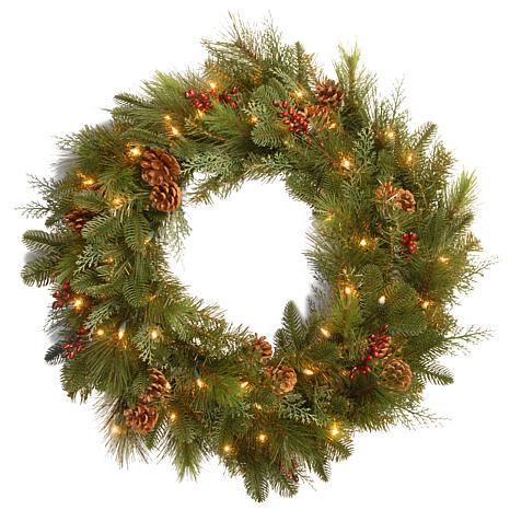 """Winter Lane 30"""" Battery-Operated Noble Mixed Wreath"""