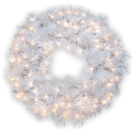 "Winter Lane 30"" Wispy Willow White Wreath w/Lights"