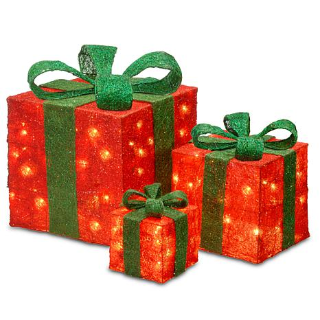 """Winter Lane 6""""/10""""/14"""" Assorted Red Sisal Gift Boxes"""