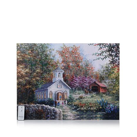 Winter lane fiber optic lit canvas art with remote country church